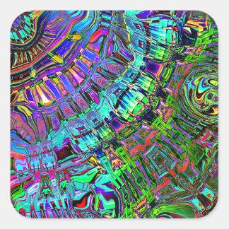 Pegatina Cuadrada Espectro abstracto de formas