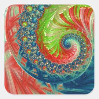 Pegatina Cuadrada Espiral brillante