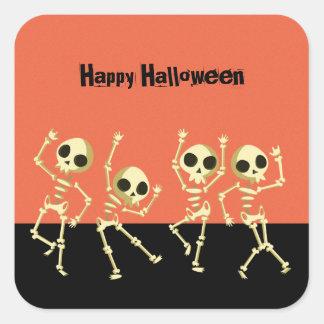 Pegatina Cuadrada Esqueletos Halloween del baile