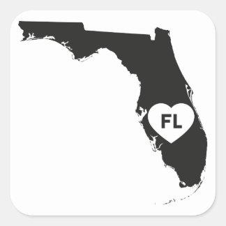 Pegatina Cuadrada Estado de la Florida del amor de los pegatinas I