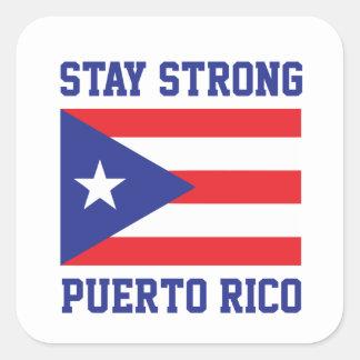 Pegatina Cuadrada Estancia Puerto Rico fuerte