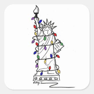 Pegatina Cuadrada Estatua de New York City de las luces de navidad