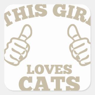 Pegatina Cuadrada Este chica ama gatos