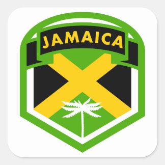 Pegatina Cuadrada Estilo jamaicano del escudo de la bandera