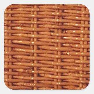 Pegatina Cuadrada Estilo rural de mimbre rústico de la cesta de la