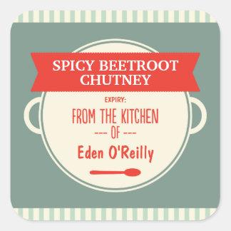 Pegatina Cuadrada Etiquetas del regalo de la comida del vintage -