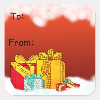 Pegatina Cuadrada Etiquetas del regalo de los presentes