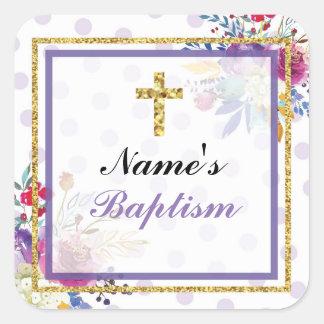 Pegatina Cuadrada Etiquetas religiosas de la cruz del oro de los