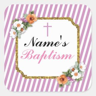 Pegatina Cuadrada Etiquetas religiosas del rosa de los pegatinas del