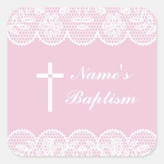 Pegatina Cuadrada Etiquetas rosadas del cordón del bautismo de los