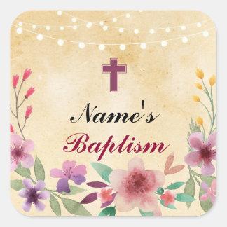 Pegatina Cuadrada Etiquetas santas de la cruz del bautismo de los