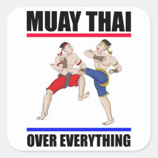 Pegatina Cuadrada Excesivo tailandés de Muay todo