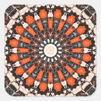 Pegatina Cuadrada Extracto anaranjado y negro