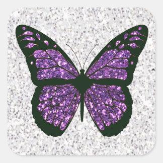 Pegatina Cuadrada Falsa mariposa reluciente blanca y púrpura