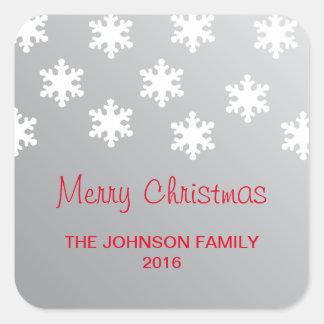 Pegatina Cuadrada Falsa Navidad blanca de plata elegante simple de