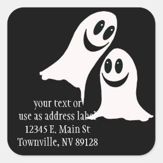 Pegatina Cuadrada Fantasmas lindos del dibujo animado de Halloween