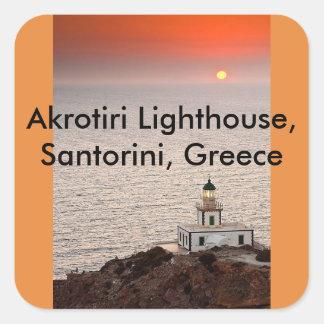 Pegatina Cuadrada Faro de Akrotiri, Santorini, Grecia