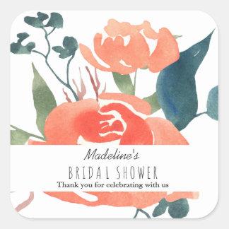 Pegatina Cuadrada Favor nupcial floral de la ducha del rosa rojo de