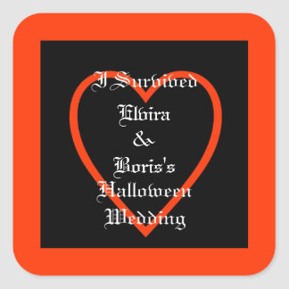 Pegatina Cuadrada Favor personalizado del boda de Halloween