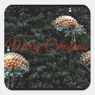 Pegatina Cuadrada Felices Navidad