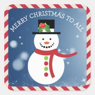 Pegatina Cuadrada Felices Navidad a todos los pegatinas del muñeco