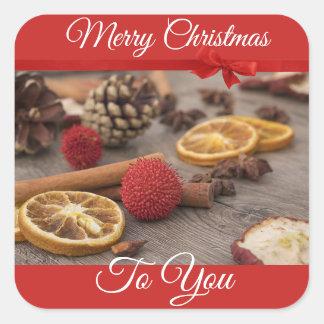 Pegatina Cuadrada Felices Navidad a usted pegatinas de los palillos