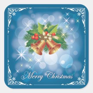 Pegatina Cuadrada Felices Navidad azules y blancas bonitas