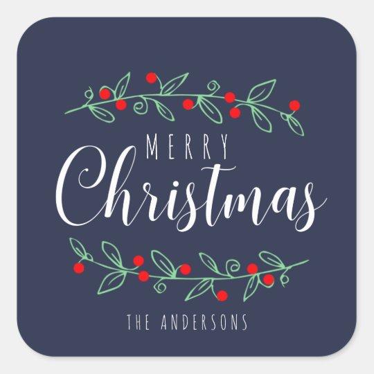 Pegatina Cuadrada Felices Navidad de la baya del color EDITABLE