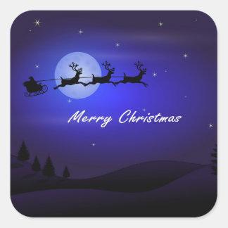 Pegatina Cuadrada Felices Navidad de la luna del trineo de Santa