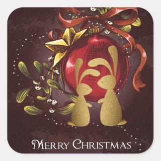 Pegatina Cuadrada Felices Navidad de los conejitos del muérdago