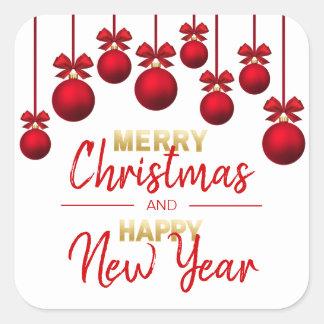 Pegatina Cuadrada Felices Navidad del oro ROJO y Feliz Año Nuevo