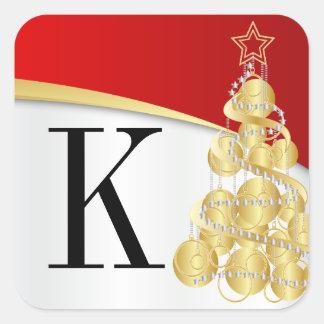 Pegatina Cuadrada Felices Navidad rojas de oro del monograma