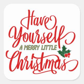 Pegatina Cuadrada Felices pequeños pegatinas del navidad