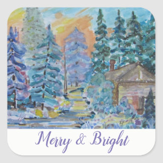 Pegatina Cuadrada Feliz y brillante - cabina en la escena de maderas