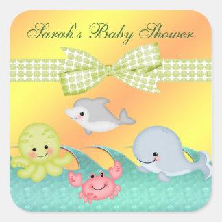 Pegatina Cuadrada Fiesta de bienvenida al bebé alegre de las