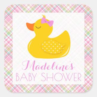 Pegatina Cuadrada Fiesta de bienvenida al bebé Ducky de goma