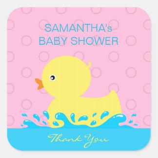 Pegatina Cuadrada Fiesta de bienvenida al bebé Ducky de goma rosada