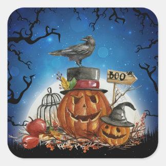 Pegatina Cuadrada Fiesta de la calabaza del cuervo de Halloween