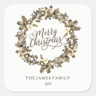 Pegatina Cuadrada Fiesta de Navidad 2017 de la familia de la