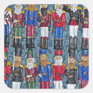 Pegatina Cuadrada Figuras del navidad del vintage, viejos soldados