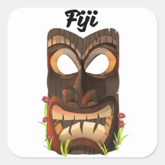 Pegatina Cuadrada Fiji talló la máscara