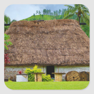 Pegatina Cuadrada Fijian tradicional Bure, pueblo de Navala, Fiji