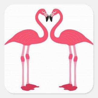 Pegatina Cuadrada flamenco-pájaro-amor