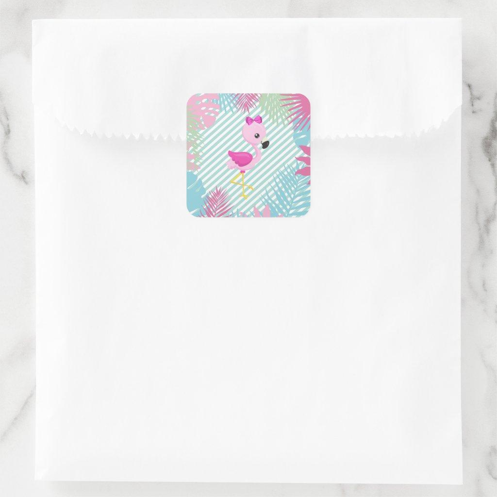 Pegatina Cuadrada Flamenco Rosa Baby para personalizar e imprimir