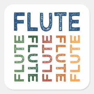 Pegatina Cuadrada Flauta colorida