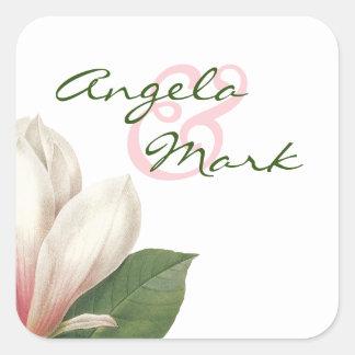 Pegatina Cuadrada Flor de la magnolia meridional que casa el |
