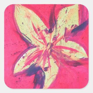 Pegatina Cuadrada Flor del fuego de Jane