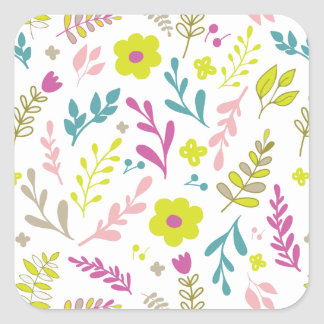 Pegatina Cuadrada Flores de Colorfull en blanco