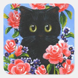 Pegatina Cuadrada Flores divertidas de los rosas rojos del gato