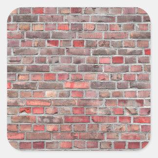 Pegatina Cuadrada fondo de la pared de ladrillo - piedra roja del